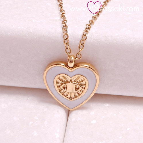 Ατσάλινο Κοντό Κολιέ Με Καρδιά και Ματάκι Χρυσό, Λευκό 4308