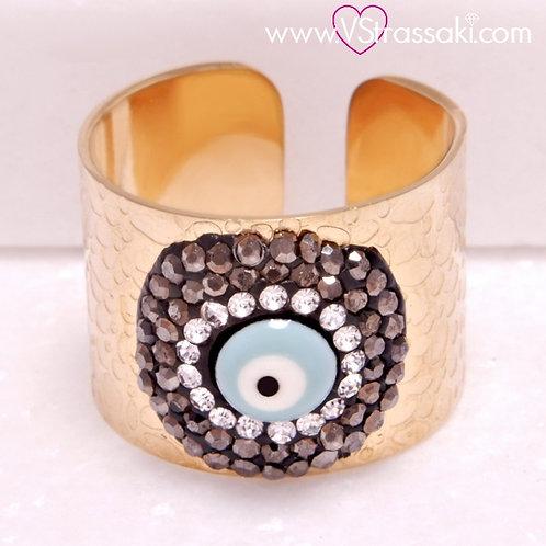 Ατσάλινο Δαχτυλίδι Σφυρήλατο με Μάτι και Στρας Χρυσό 2198