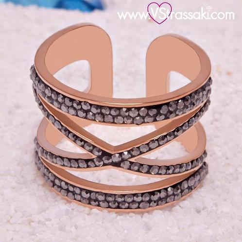 Ατσάλινο Δαχτυλίδι με Γεωμετρικό Σχέδιο Διπλό Χιαστί Ροζ Χρυσό 2243