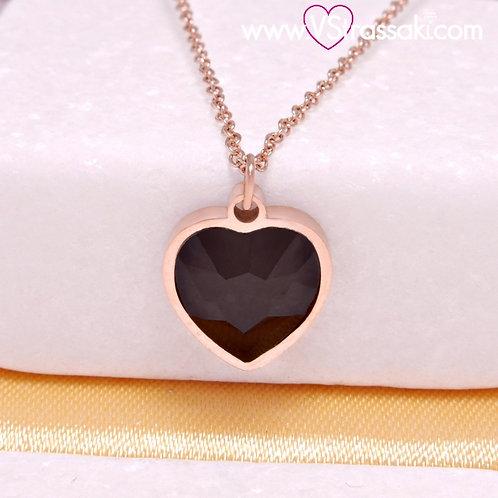 Ατσάλινο Κοντό Κολιέ Με Καρδιά Ροζ Χρυσό, Μαύρο  4415