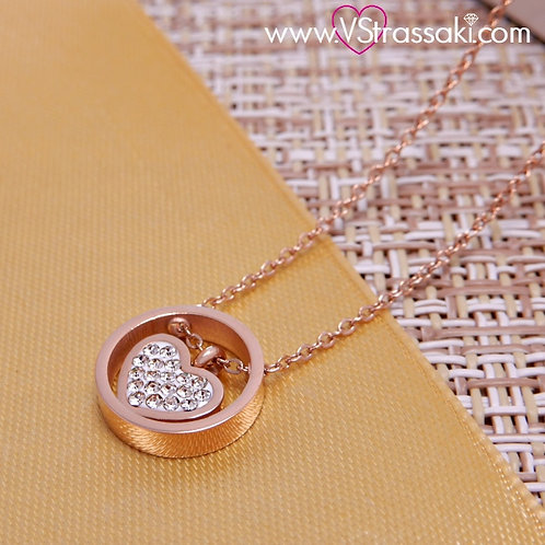 Ατσάλινο Κοντό Κολιέ Με Καρδιά HeartNecklace Ροζ Χρυσό 4095