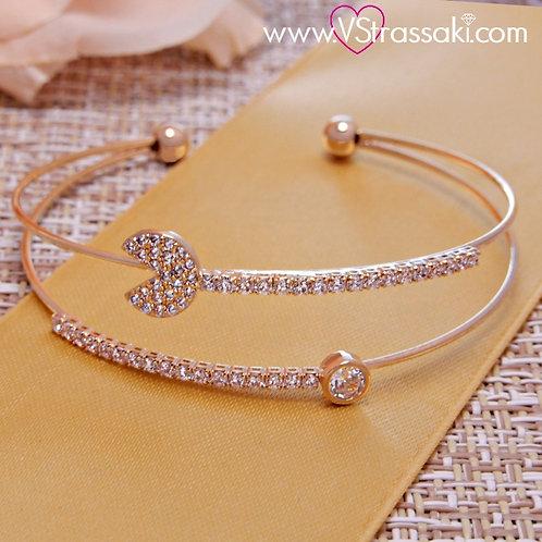 Βραχιόλι Χειροπέδα από Ορείχαλκο Double Bracelet Χρυσό 6097