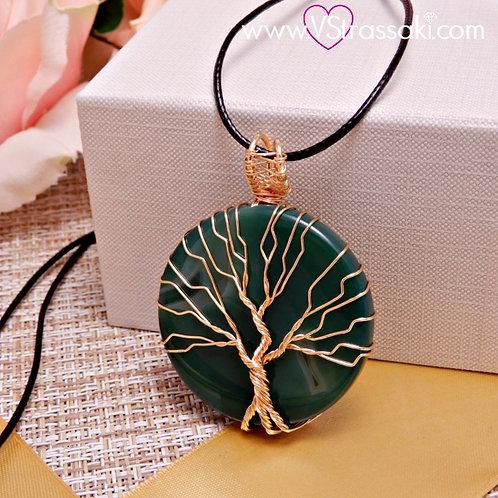 Κολιέ Με Πράσινο Αχάτη και Δέντρο Ζωής Χρυσό 4155