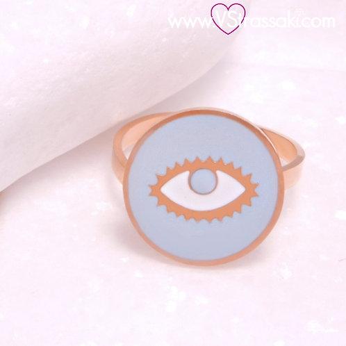 Ατσάλινο Δαχτυλίδι με Μάτι από Σμάλτο Ροζ Χρυσό, Γαλάζιο 2290