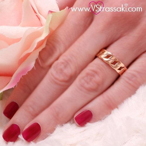 Ατσάλινο Δαχτυλίδι Αλυσίδα Ροζ Χρυσό 2174