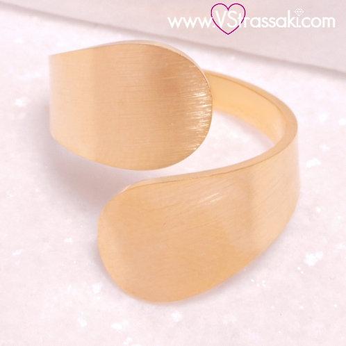 Ατσάλινο Δαχτυλίδι με Γεωμετρικό Σχέδιο Χρυσό 2253