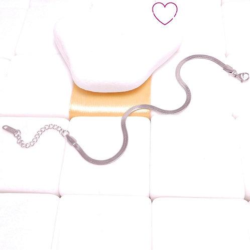 Ατσάλινο Βραχιόλι Ποδιού με Πλακέ Αλυσίδα Φίδι Ασημί 9030