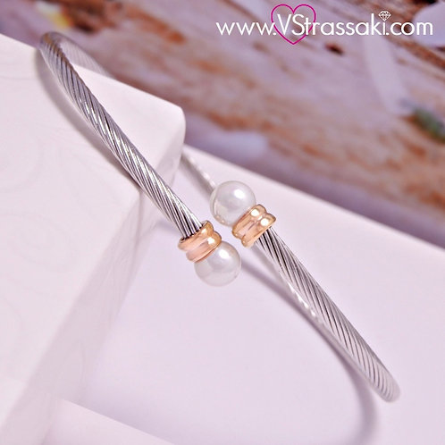 Βραχιόλι Χειροπέδα από Ορείχαλκο Twisted Bracelet Ασημί Χρυσό 6073