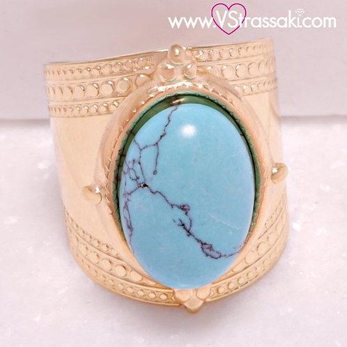 Ατσάλινο Δαχτυλίδι με Τυρκουάζ Πέτρα Χρυσό 2210