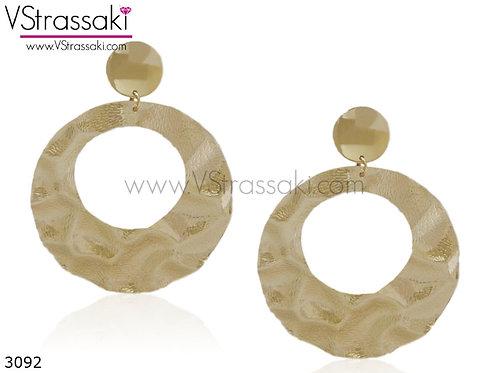 Σκουλαρίκια Μακριά 9cm HammeredHoop Χρυσό 3092