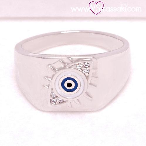 Ατσάλινο Δαχτυλίδι με Μάτι Ασημί 2230