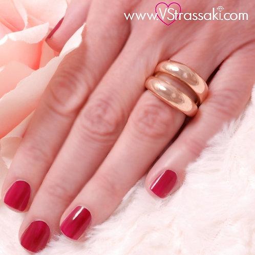 Διπλό Ατσάλινο Δαχτυλίδι Minimal Ροζ Χρυσό 2168
