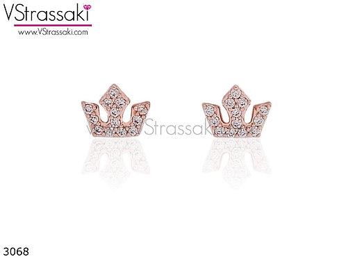 Σκουλαρίκια Καρφωτά 0.5cm RoyalCrown Ροζ Χρυσό Με Καρφάκι Από 925 Ασήμι 3068