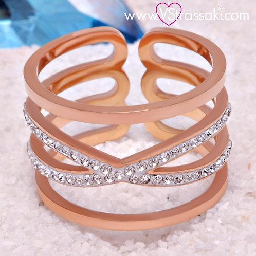 Ατσάλινο Δαχτυλίδι Χ Ροζ Χρυσό 2155