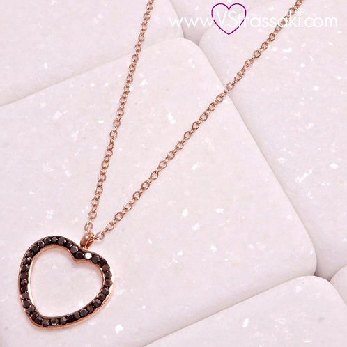 Ατσάλινο Κοντό Κολιέ Με Καρδιά Ροζ Χρυσό, Γκρι  4303
