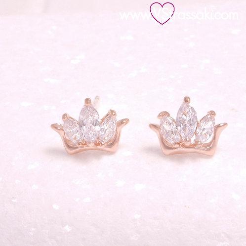 Σκουλαρίκια Καρφωτά Κορώνα με Ζιργκόν Ροζ Χρυσό και Καρφάκι Από 925 Ασήμι 3339