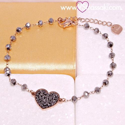 Ατσάλινο Βραχιόλι Ροζάριο με Καρδιά Ροζ Χρυσό, Γκρι 6283