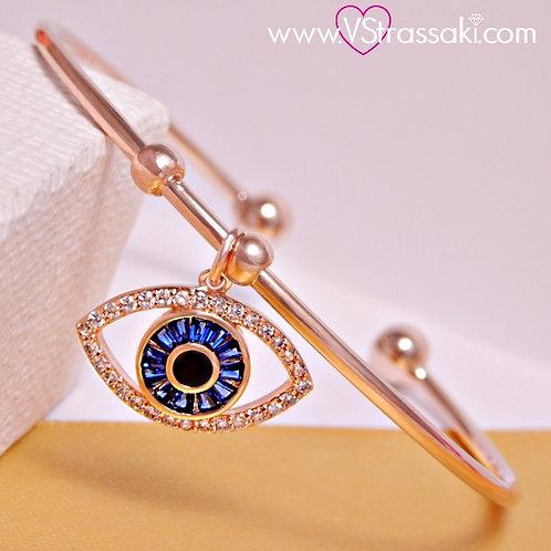 Βραχιόλι Χειροπέδα με Μάτι από Ορείχαλκο Ροζ Χρυσό 6115