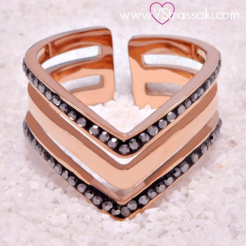 Ατσάλινο Δαχτυλίδι με Τριπλό V Ροζ Χρυσό 2136