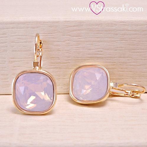 Σκουλαρίκια Κοντά 2.7cm με Opaque Ροζ Κρύσταλλο Χρυσό 3168