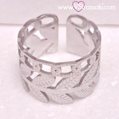 Ατσάλινο Δαχτυλίδι με Φύλλα και Αλυσίδα Ασημί 2251