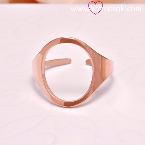 Ατσάλινο Δαχτυλίδι με Οβάλ Κύκλο Ροζ Χρυσό 2090