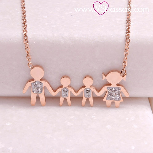 Ατσάλινο Κοντό Κολιέ Οικογένεια με Δύο Αγόρια Ροζ Χρυσό 4286