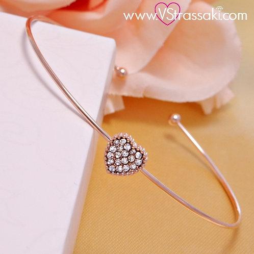 Βραχιόλι Χειροπέδα από Ορείχαλκο Slim Bracelet Ροζ Χρυσό 6101