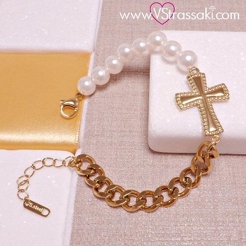 Ατσάλινο Βραχιόλι Σταυρός με Αλυσίδα και Πέρλες Χρυσό, Λευκό 6189
