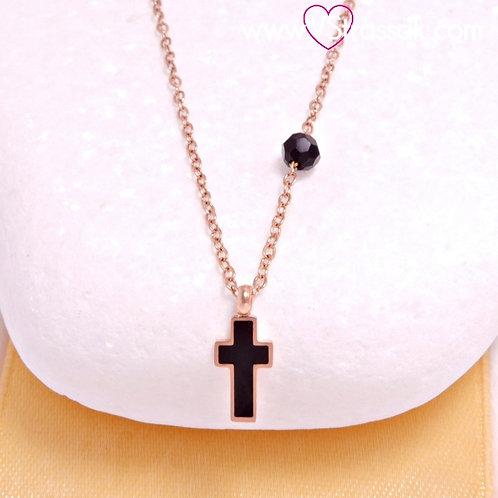 Ατσάλινο Κοντό Κολιέ Με Σταυρό από Σμάλτο, Μαύρη Χάντρα Ροζ Χρυσό, Μαύρο 4475