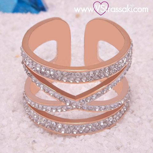 Ατσάλινο Δαχτυλίδι με Γεωμετρικό Σχέδιο Ροζ Χρυσό 2245