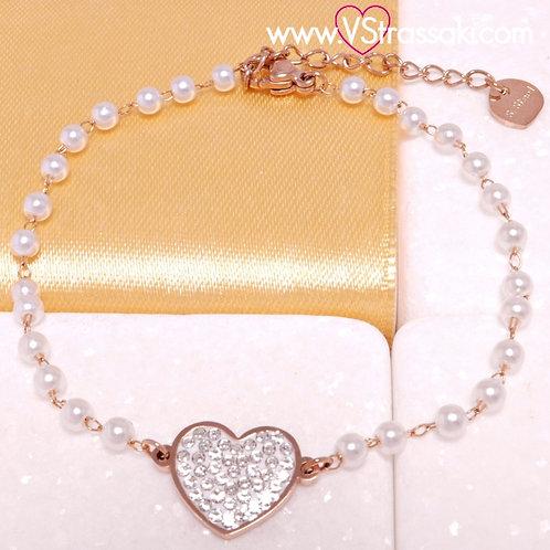 Ατσάλινο Βραχιόλι Ροζάριο με Καρδιά και Λευκές Πέρλες Ροζ Χρυσό 6284