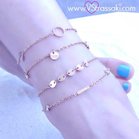 Γυναικείες Αλυσίδες Ποδιού από Ανοξείδωτο Ατσάλι Ροζ Χρυσό