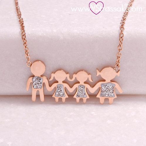 Ατσάλινο Κοντό Κολιέ Οικογένεια με Δύο Κορίτσια Ροζ Χρυσό 4294