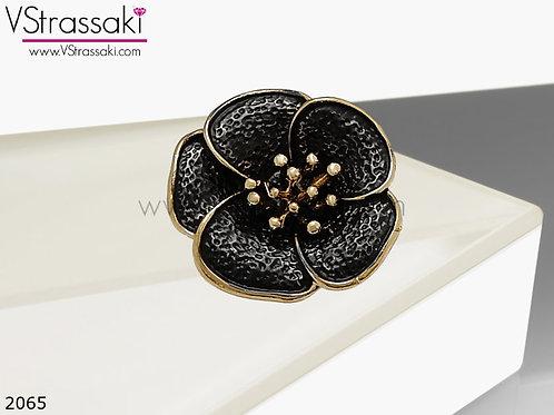 Δαχτυλίδι Μεταλλικό Με Λουλούδι BlackFlower Μαύρο Χρυσό 02065