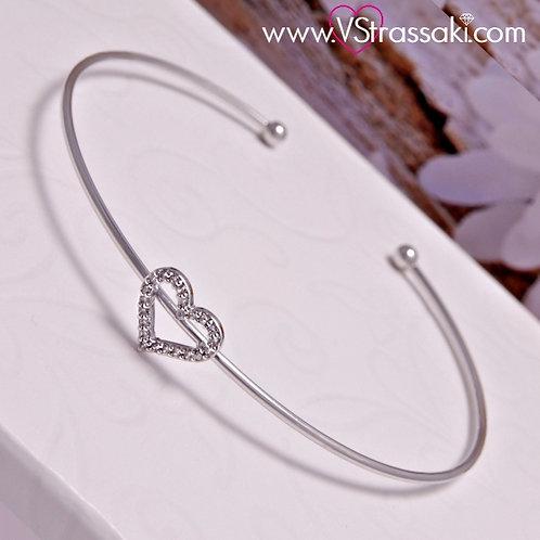 Βραχιόλι Χειροπέδα από Ορείχαλκο Slim Bracelet Ασημί 6065