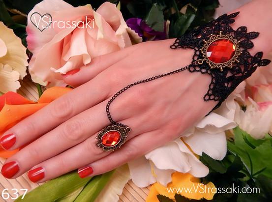 Βραχιόλι δαχτυλίδι σε μαύρο και κόκκινο