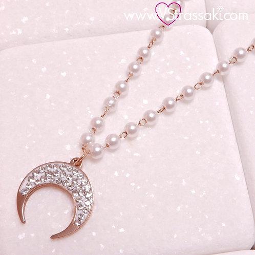 Ατσάλινο Κοντό Κολιέ Ροζάριο Με Φεγγάρι Ροζ Χρυσό, Λευκό 4283