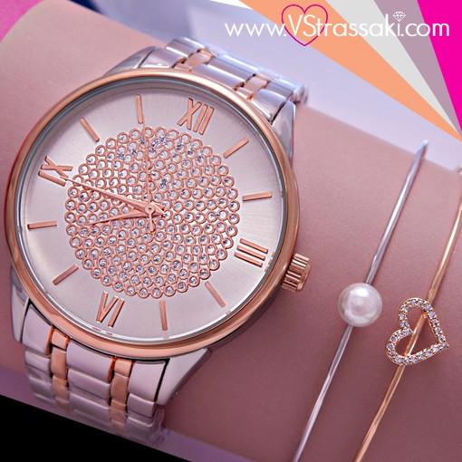 Σετ Ρολόι Farril Με Βραχιόλια Χειροπέδες από Ορείχαλκο με Πέρλα και Καρδιά σε ασημί και ροζ χρυσό