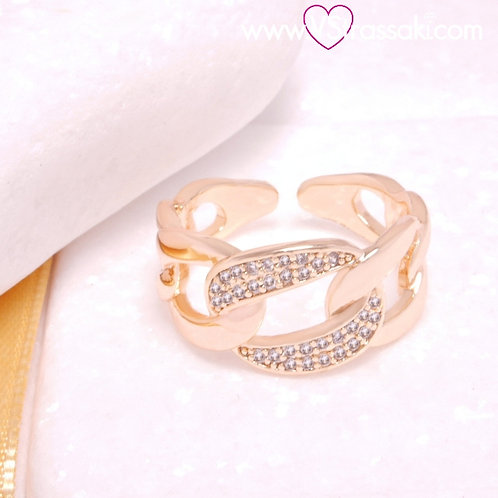 Δαχτυλίδι Αλυσίδα από Ορείχαλκο με Λευκά Ζιργκόν Χρυσό 2268