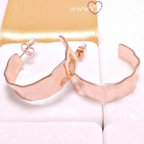 Ατσάλινα Σκουλαρίκια Σφυρήλατοι Κρίκοι Κοντά 3cm Ροζ Χρυσό 3221