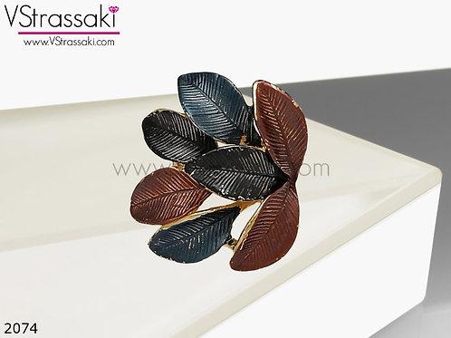 Δαχτυλίδι Μεταλλικό με Φύλλα AutumnLeaves Χρυσό 02074