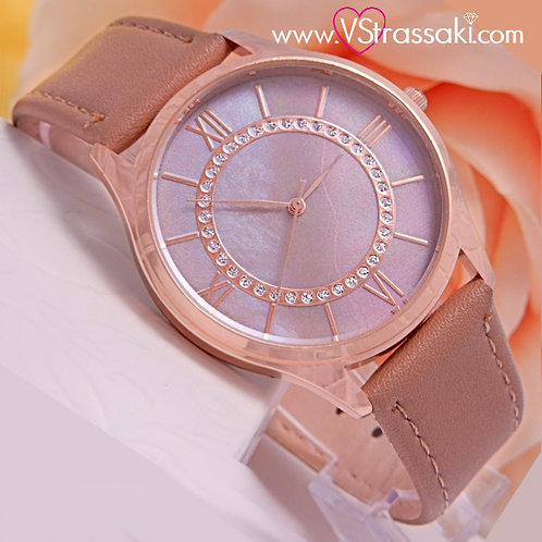 Γυναικείο Ρολόι CUCOO Με Λουράκι Δερματίνη SimpleTime Ροζ Χρυσό 5019