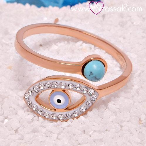 Ατσάλινο Δαχτυλίδι με Ματάκι Ροζ Χρυσό 2100