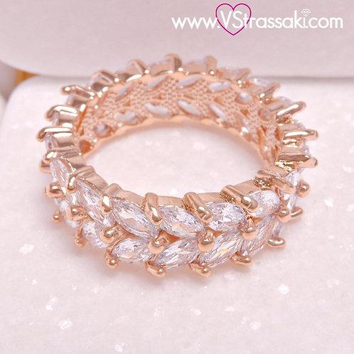 Δαχτυλίδι από Ορείχαλκο με Ζιργκόν Ροζ Χρυσό 2260