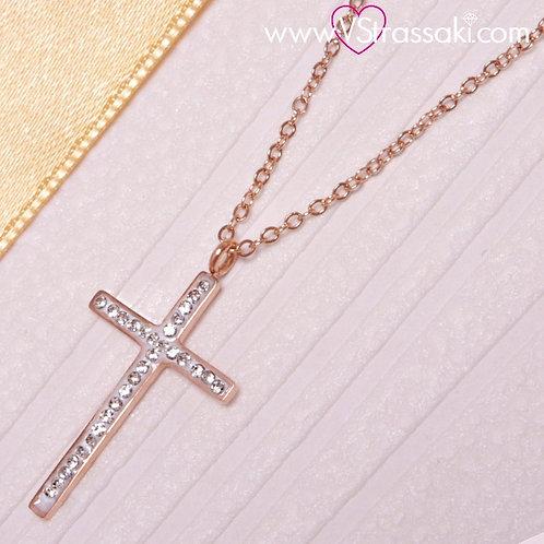 Ατσάλινο Κοντό Κολιέ Με Σταυρό Ροζ Χρυσό 4196