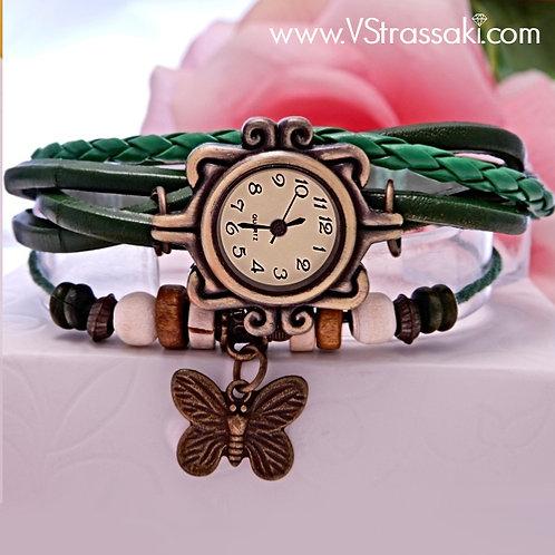Γυναικείο Ρολόι με Δερμάτινο Λουράκι και Πεταλούδα SpringTime 5044