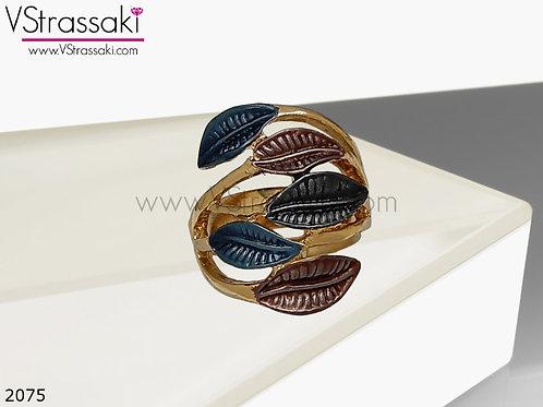 Δαχτυλίδι Μεταλλικό με Φύλλα AutumnLeaves Χρυσό 02075