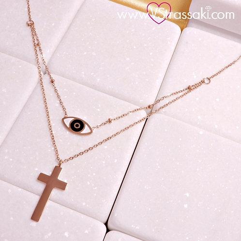 Ατσάλινο Κοντό Κολιέ Με Σταυρό και Μάτι Ροζ Χρυσό 4319