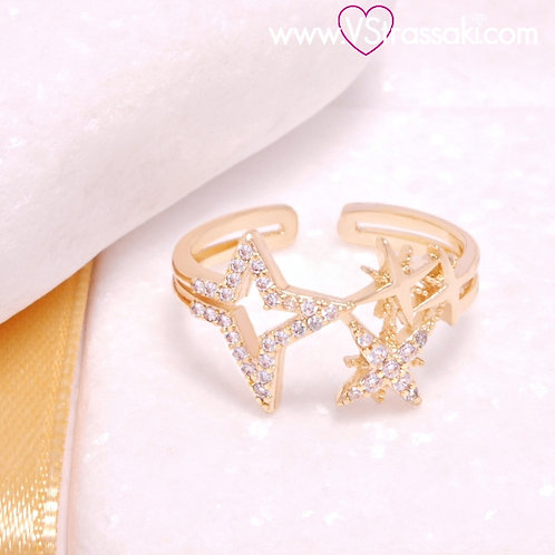 Δαχτυλίδι με Αστέρια από Ορείχαλκο και Λευκά Ζιργκόν Χρυσό 2266